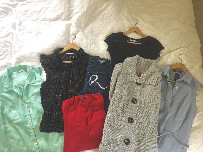 Here's my mini capsule wardrobe. After purging most of my clothes I took $75 and challenged myself to clothe myself for the fall. I found all these secondhand for just under $75. Each of the tops was $6, the dress was $10, the jeans were $12, and the sweaters were both $5.