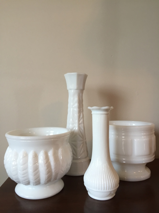 These 4 milk glass pieces cost a total of $10. I can't wait to put some plants in the pots and use the vases.