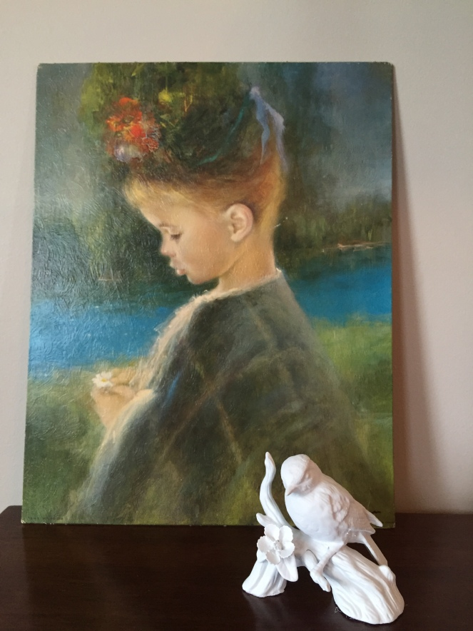 Something about this painting for $1.49 really captivates me. The bird cost $2 and I spray painted it white. Turned out great!