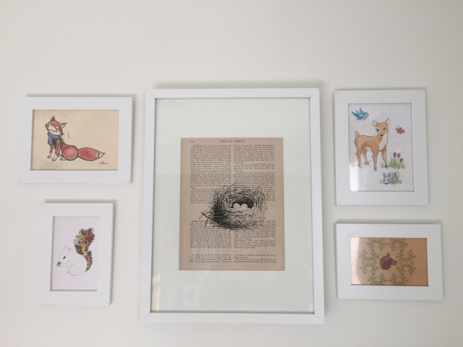 The fox print was a handmade gift from my sister-in-law. The squirrel prints were gifts from my mother-in-law. My husband painted the deer. The large bird nest print is from Etsy. It is especially meaningful because the words from the dictionary page have to do with jays (the bird) and which is also a family name.