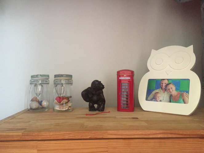These jars hold his shell collection, rock collection, and the occasional leaf.