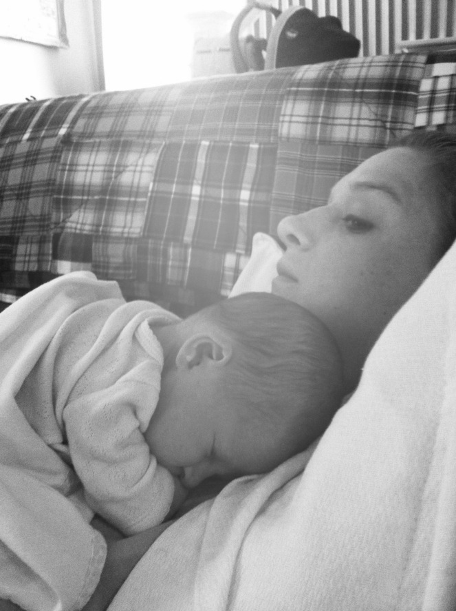 Edie and me the first day home from the NICU at 1 week old. (not seen, the 20 minutes of crying previous to this moment)
