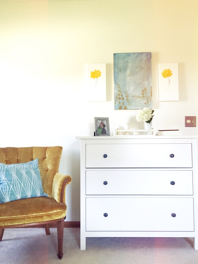 We bought this gold-yellow chair 6 years ago for $50. I have loved it every second we've owned it. My sister painted the middle image and my husband painted the two yellow roses. I love having artists in the family!