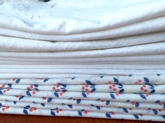 $2.50 for 11 matching white napkins, and $2 for 6 patterned ones. This is why I have fallen in love with thrifting. It gets me out of my box and helps me think about life and the way I do things differently. Even in the everyday, mundane things like napkin usage.