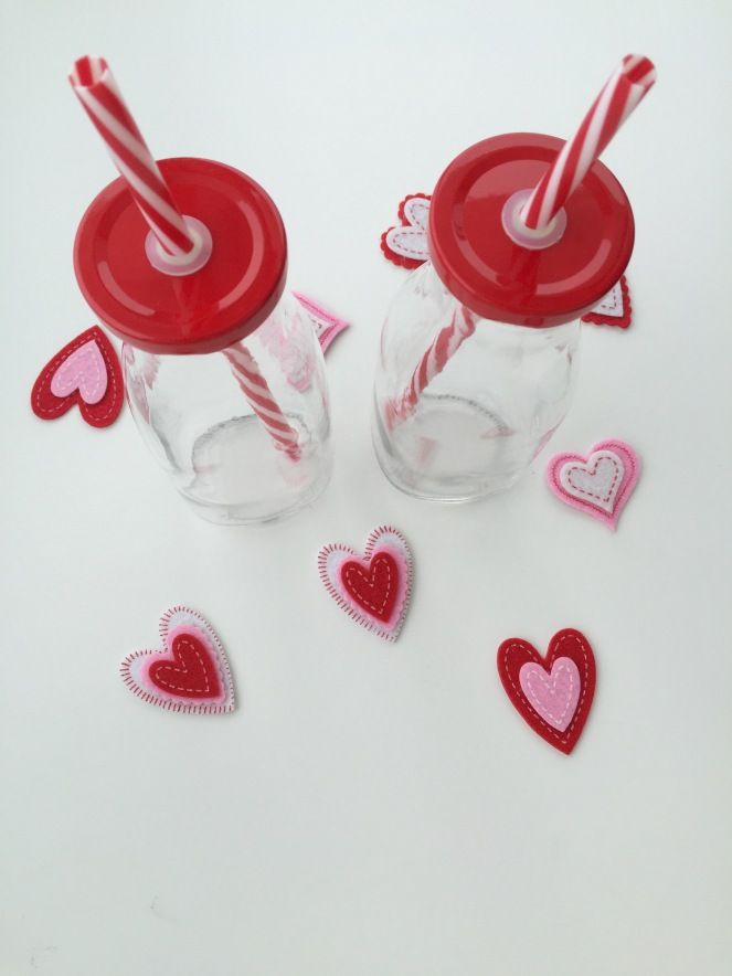 I can't wait to fill these glass milk jars with pink smoothie on February 14. Two for $3 at Target, that Dollar Spot is fantastic!