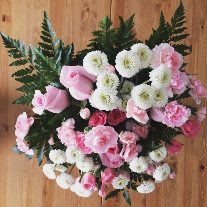 I split this gorgeous bouquet up into smaller ones and spread the pink love throughout the house.