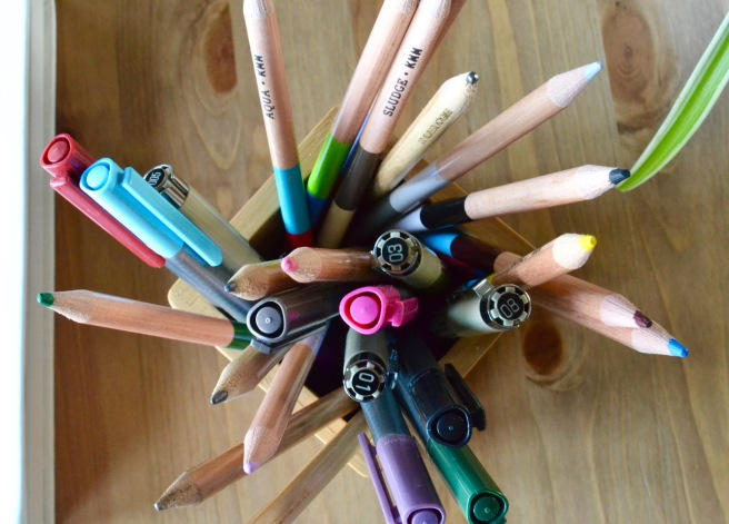 Pens for reading and writing before anyone else wakes.